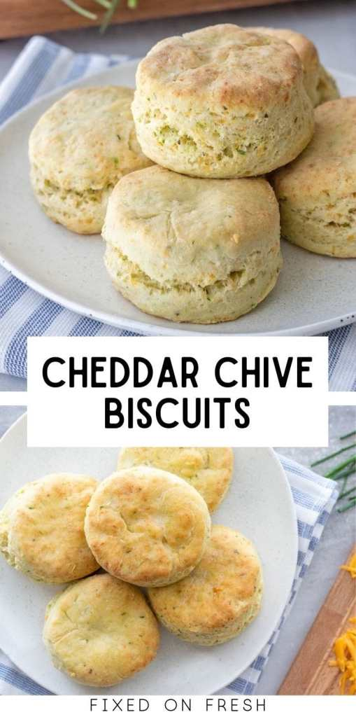 There really isn't anything better than buttery, fluffy homemade biscuits. Unless you want to be extra and throw in some cheddar cheese and fresh chives to make cheddar chive biscuits. Perfect for dinner or breakfast!