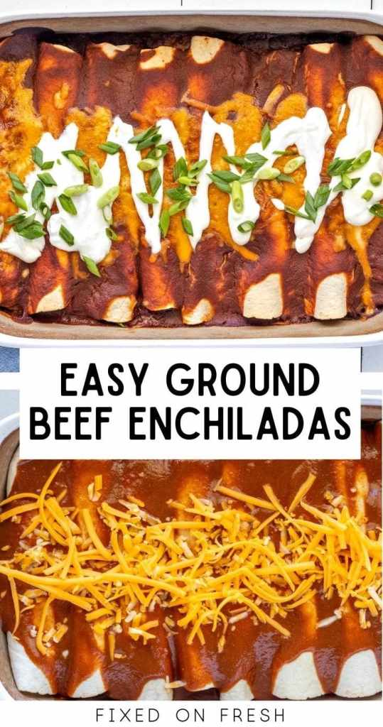 Quick and easy ground beef enchiladas recipe with homemade enchilada sauce and fresh veggies. Get this yummy dinner on the table in under 45 minutes.