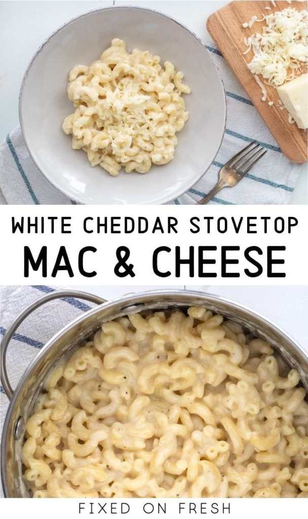 White cheddar macaroni and cheese is comes together in under 20 minutes. This cheesy side dish is way better than the boxed stuff and just as easy.