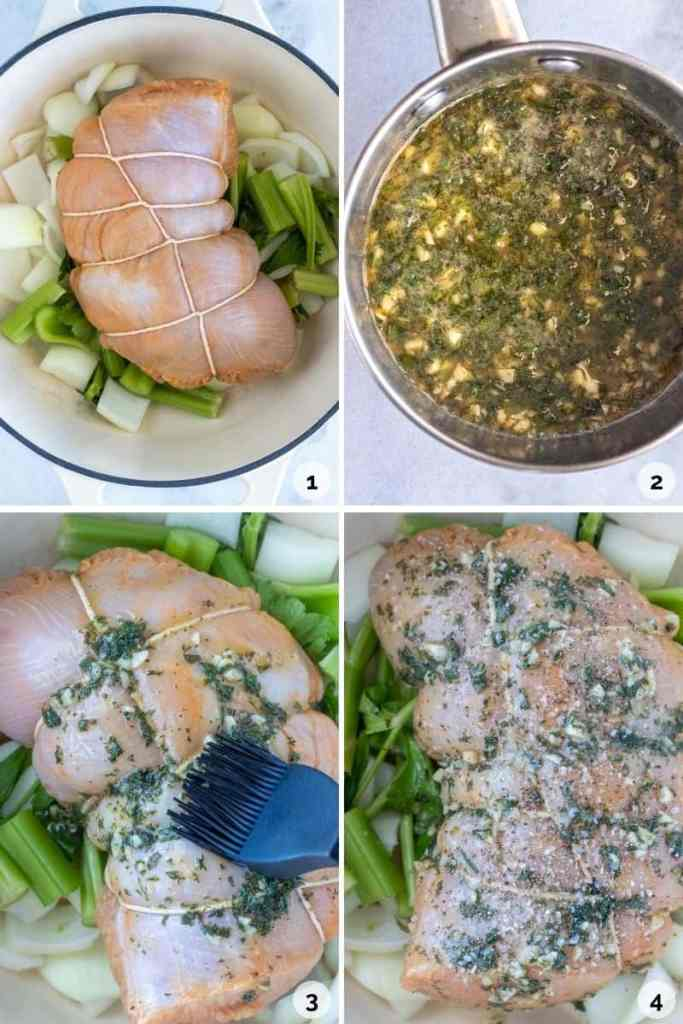 How to assemble the turkey breast, herb butter and season