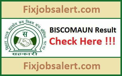BISCOMAUN Result 2019 @ biscomaun.co.in Bihar MTS, AGM, IT Manager Cutoff, Merit List