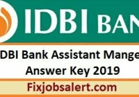 IDBI Bank Assistant Manager Answer Key 17th May 2019 Question Paper Solution, Cut Off