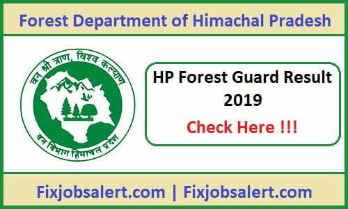 HP Forest Guard Result 2019 hpforest.nic.in HP Forest Cut Off, Merit List