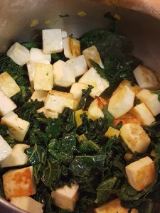paneer and greens in pan