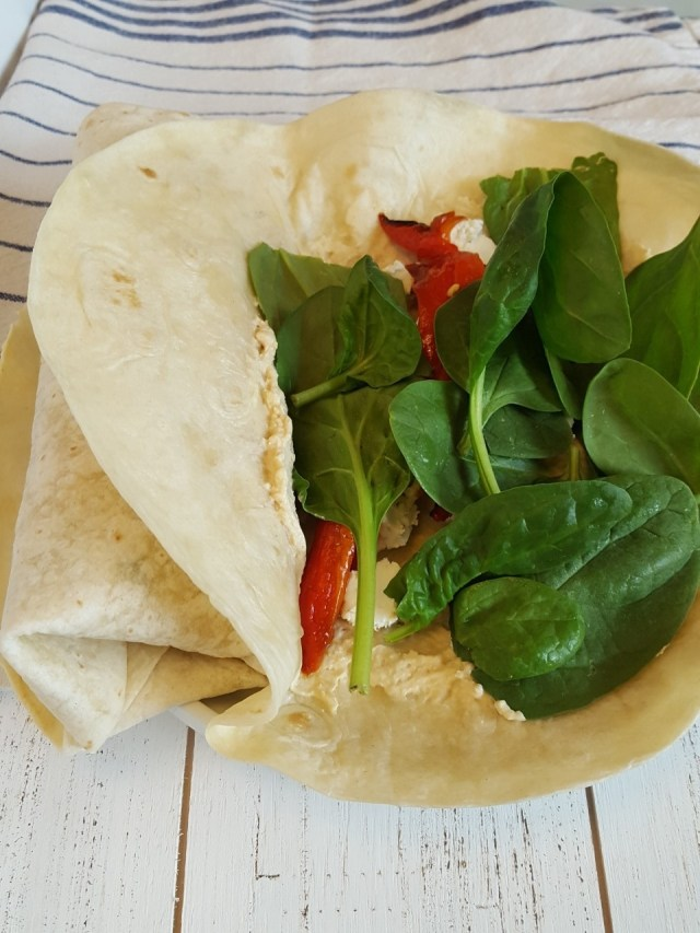 Super Quick Hummus Red Pepper Wrap