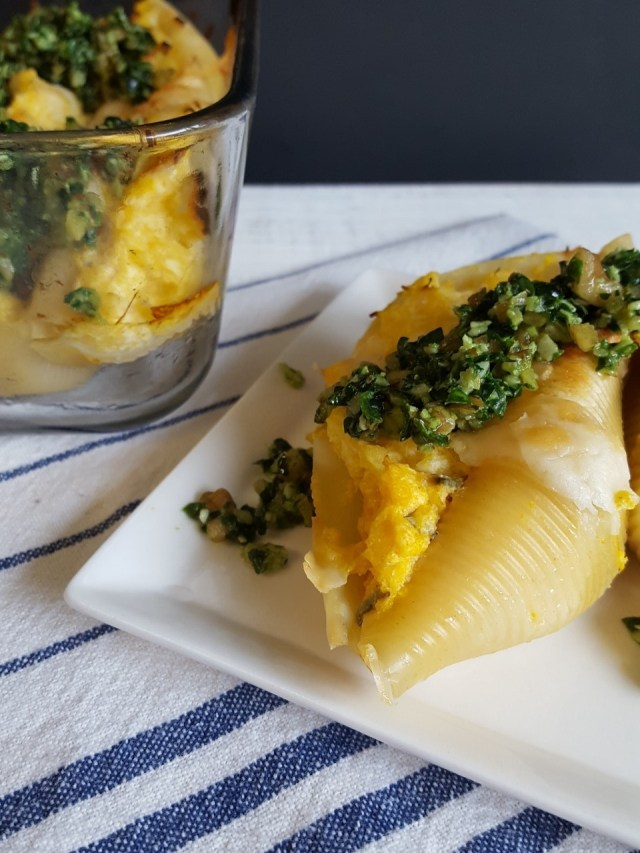 winter squash stuffed shells with greens pesto