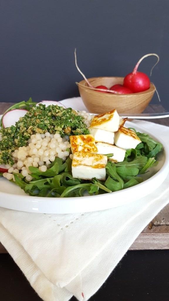 Israeli Couscous, Arugula Pesto Spring Salad