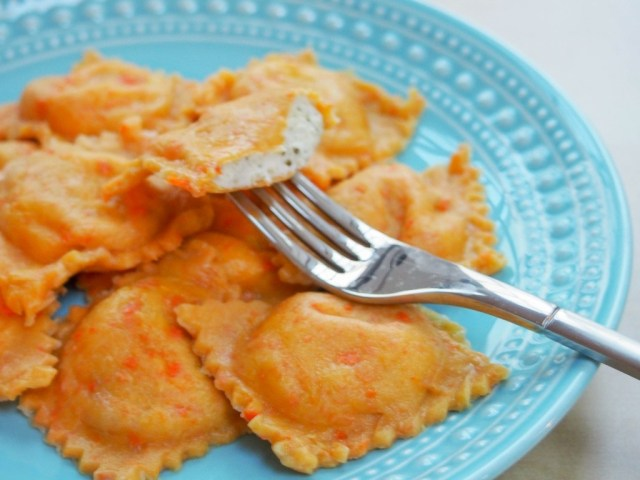 Carrot Ravioli with Broccoli-Ricotta Filling