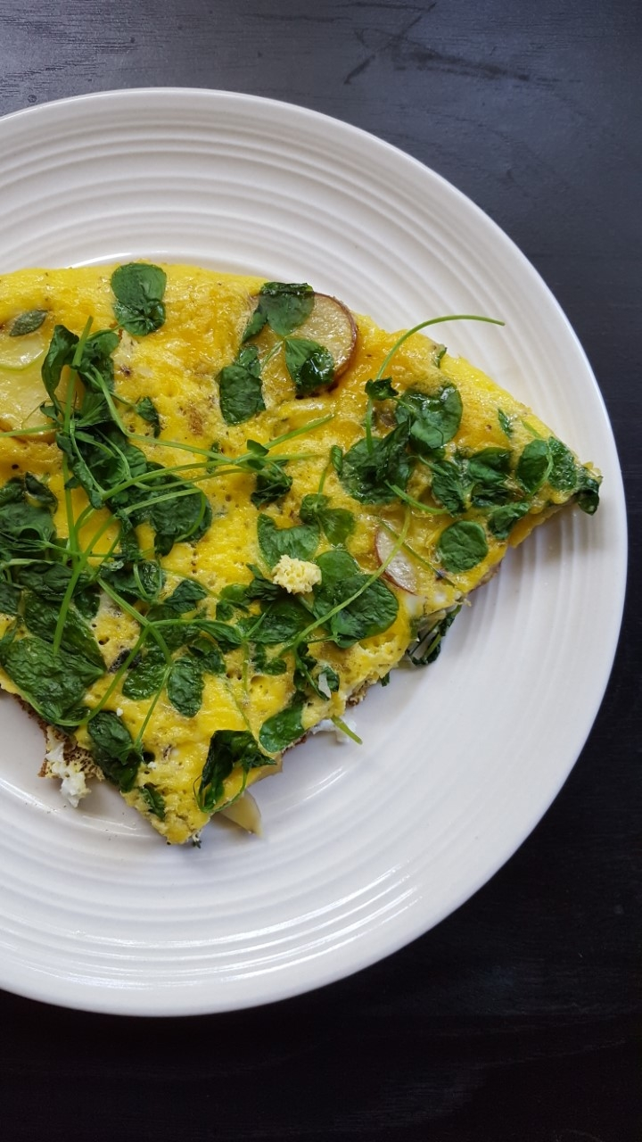 Pea Shoot Potato Ricotta Tortilla