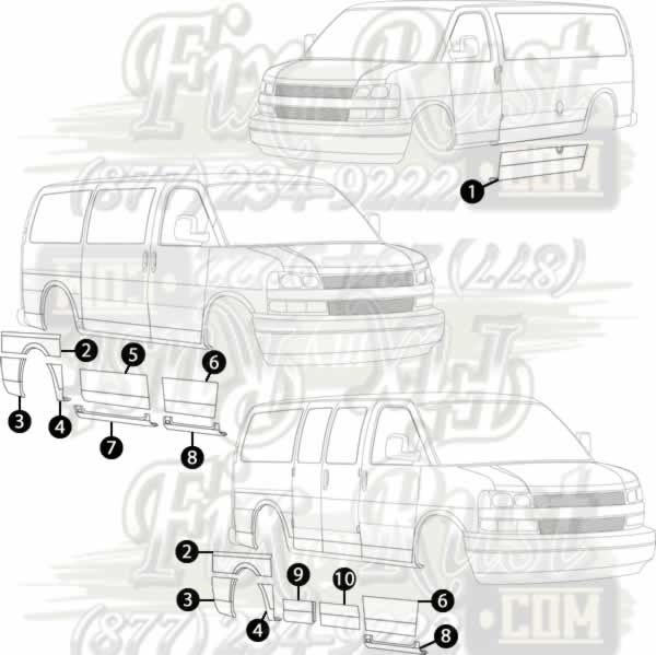toyota corolla parts diagram wiring for 12 volt winch solenoid 1996-2015 chevy express van - rust repair panels