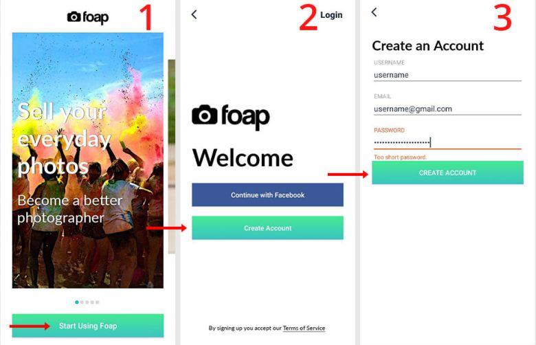 registrazione nell'app foap