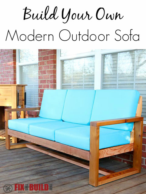 diy patio sofa plans black wrought iron tables how to build a modern outdoor | fixthisbuildthat