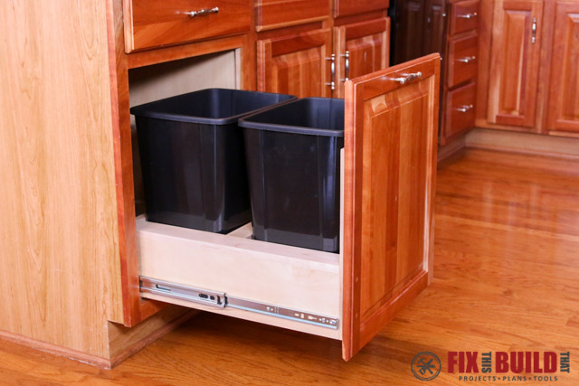 trash can kitchen cabinet free standing counter diy pull out | fixthisbuildthat