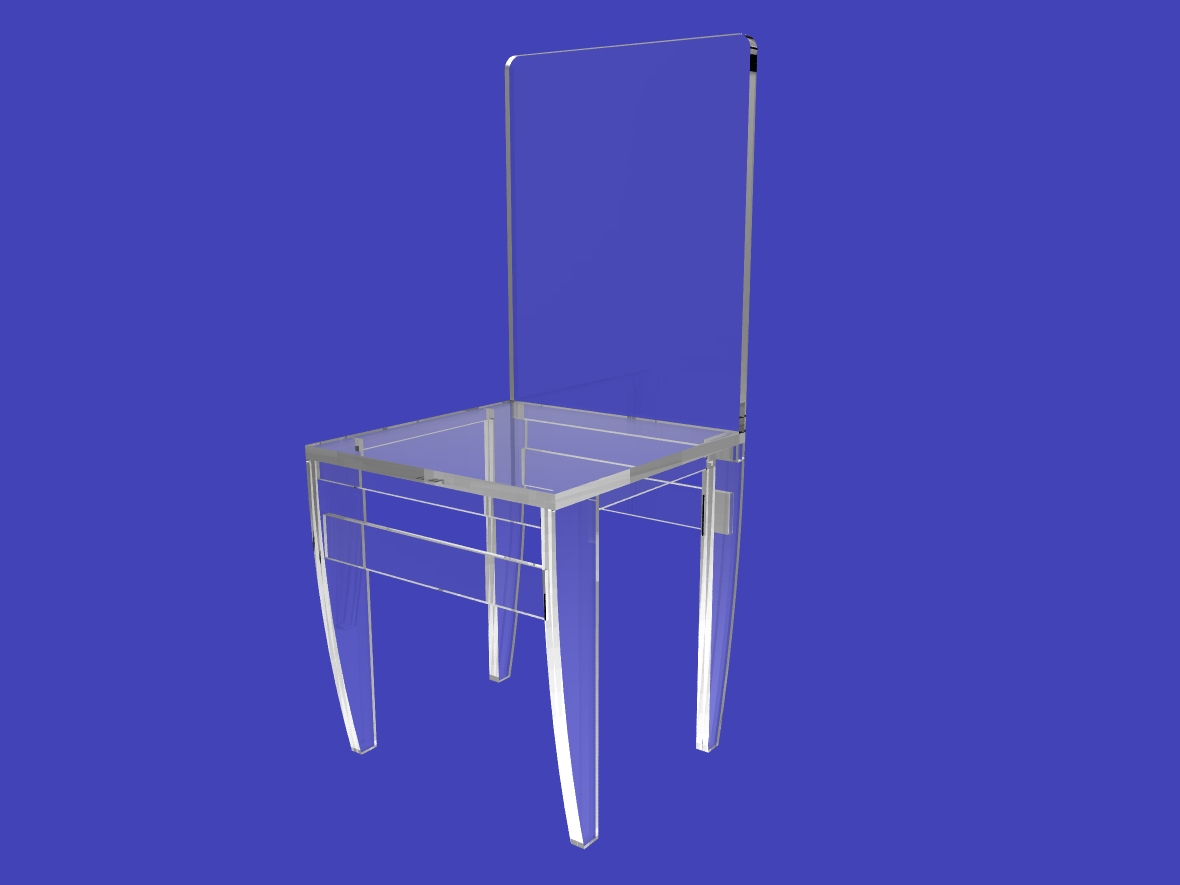 Acrylic Chair 4 Assembled Clear Acrylic Ghost Lucite Plexiglass Perspex