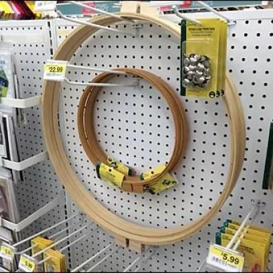 Circular Hoops Hooked on Pegboard Side