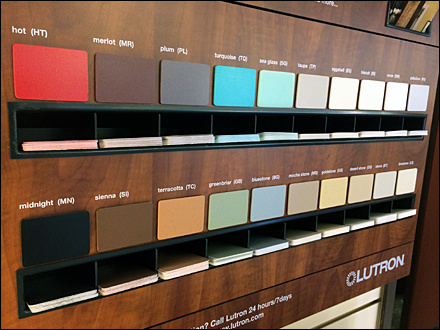 Lutron 174 Color Samples To Go Fixtures Close Up Retail Pop