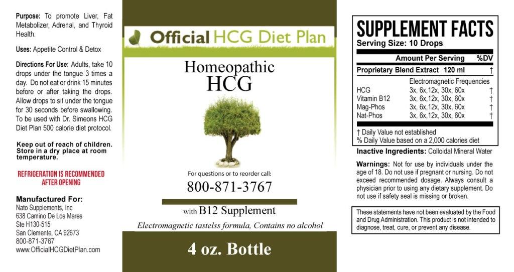 HCG Diet Drops Ingredients Label