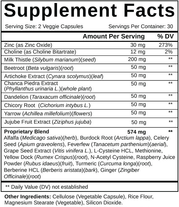 Liver Support Plus Supplement Facts