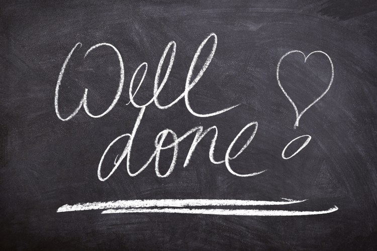 """Chalkboard that says """"Well Done!"""""""