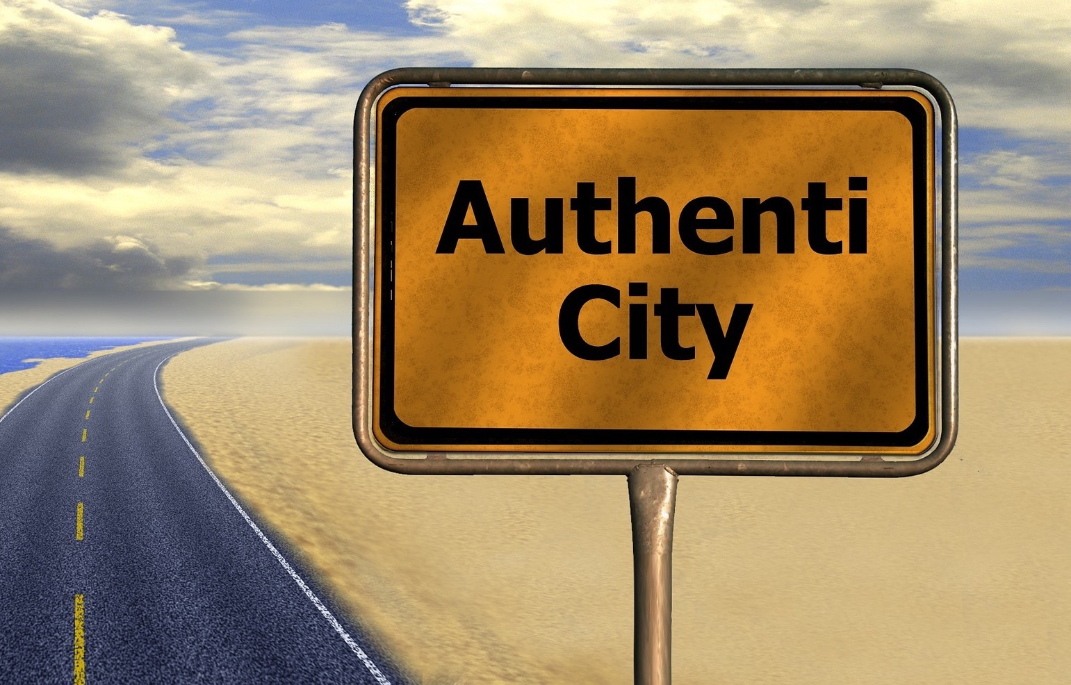Road sign that says authenticity