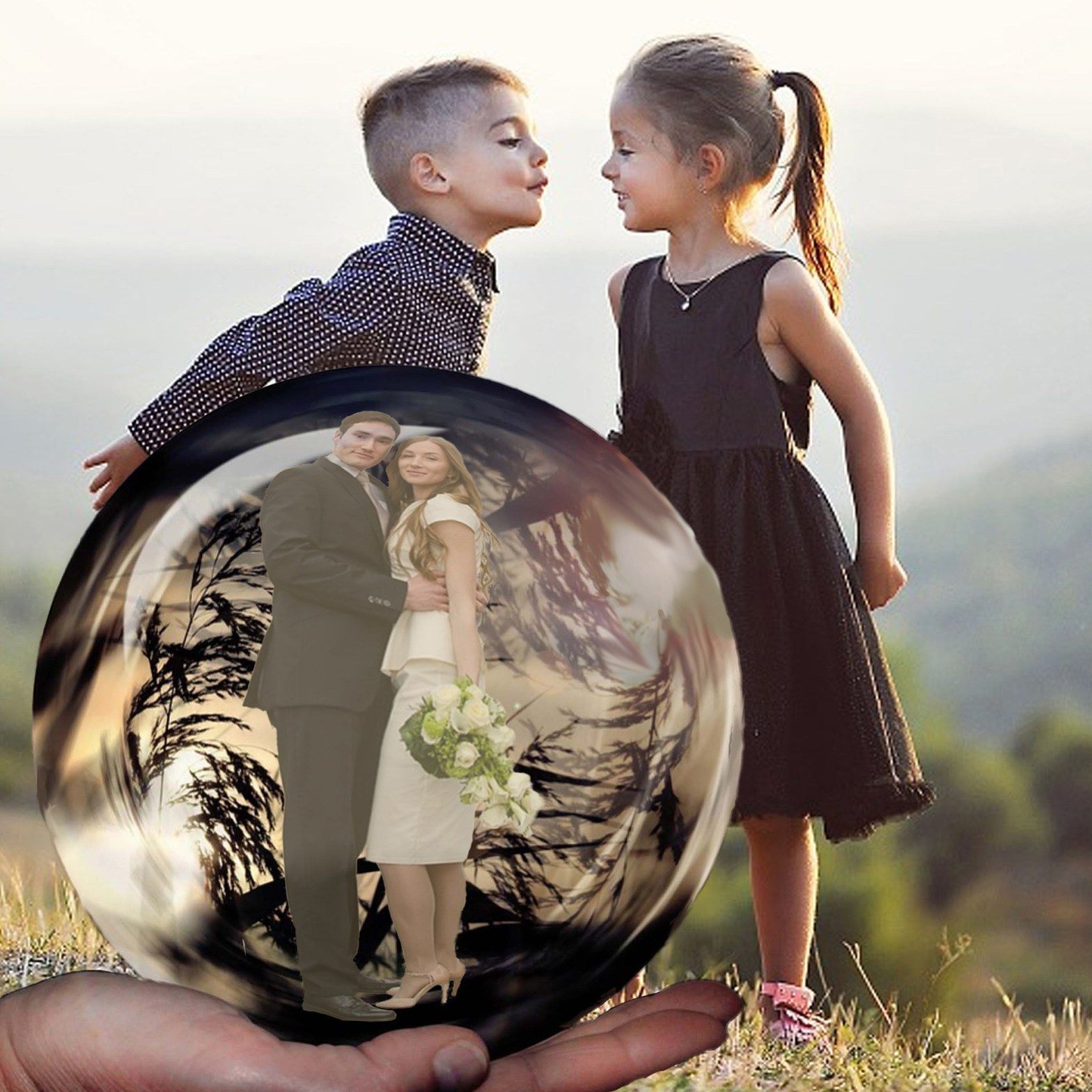 Children kissing and a crystal ball shows them as adults in a committed relationship