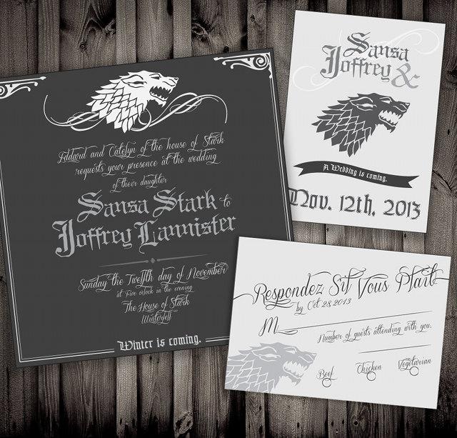 Game Of Thrones Wedding Invitations