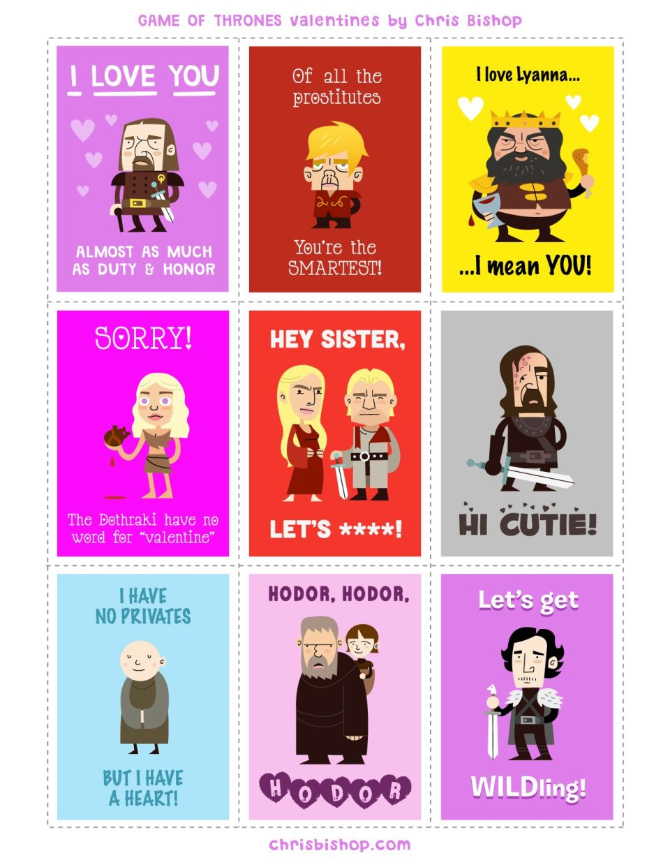 Game of Thrones Valentines card