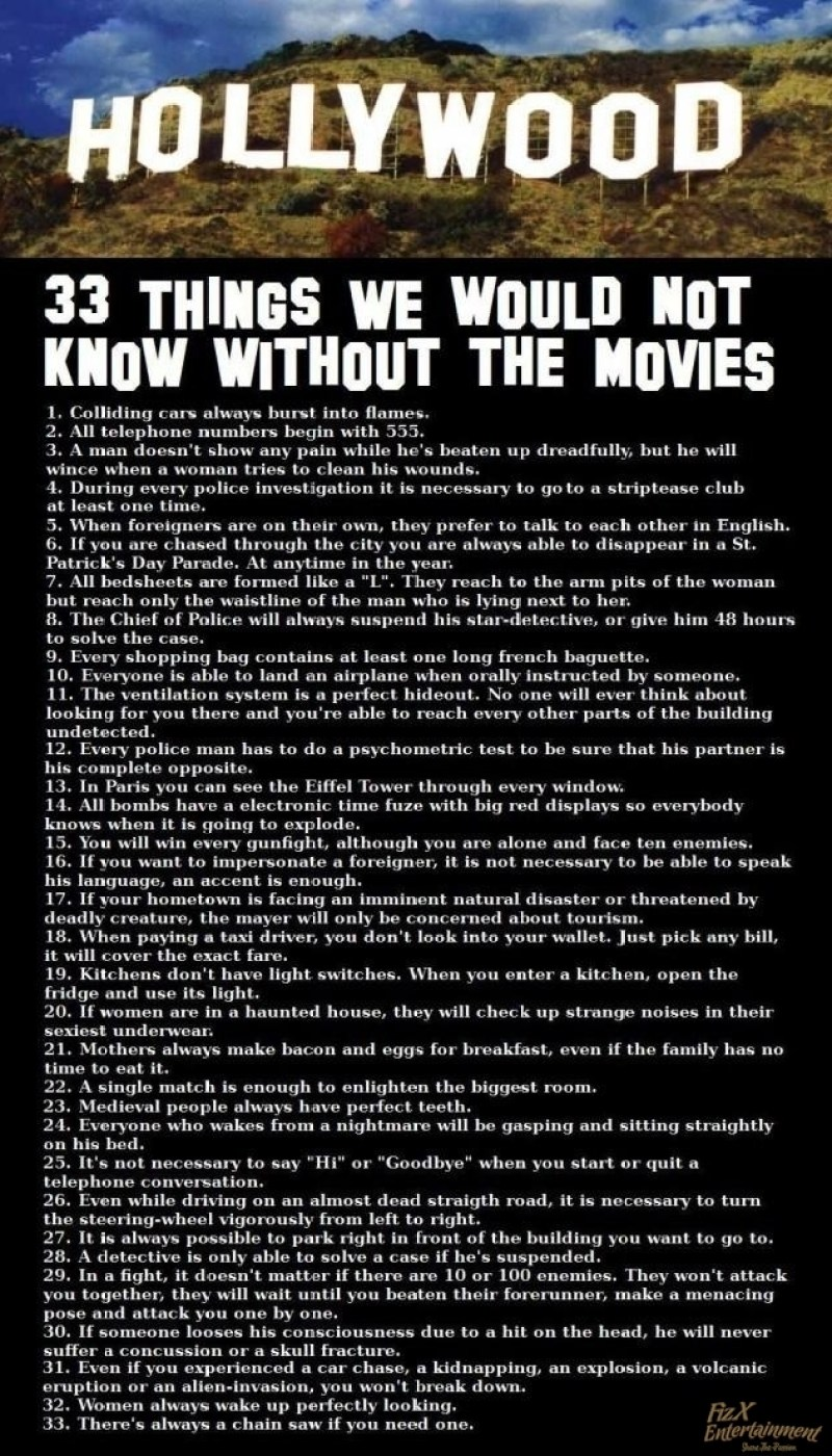 33 Things You Would NOT Know Without The Movies