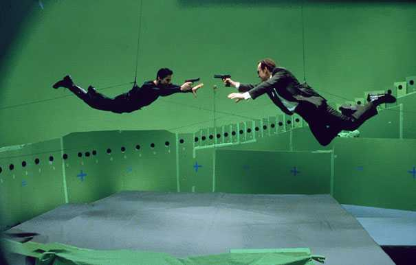 Behind the scene photo from The Matrix