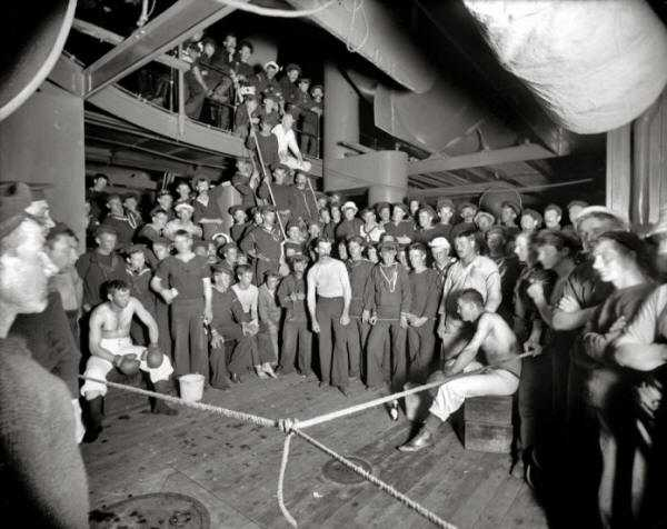 A boxing match on board the USS Oregon in 1897.