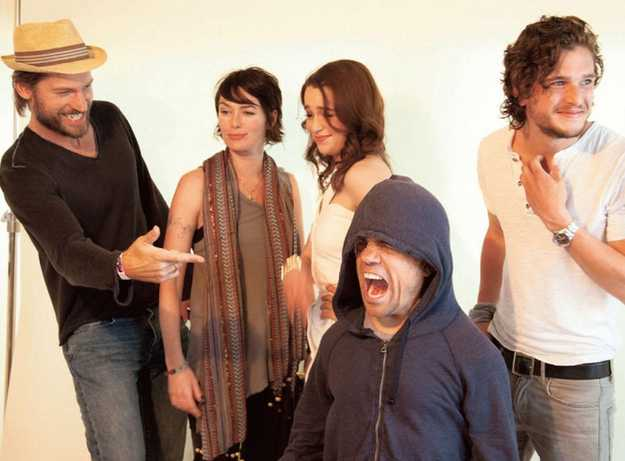 Tyrion being silly while Dany and Snow make faces in the background