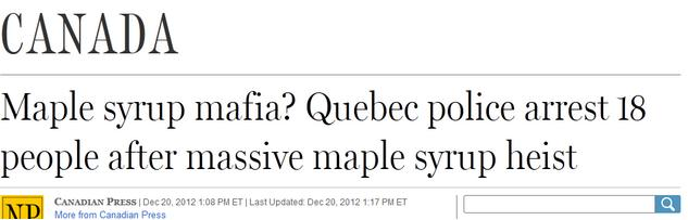 canadian maple syrup heist