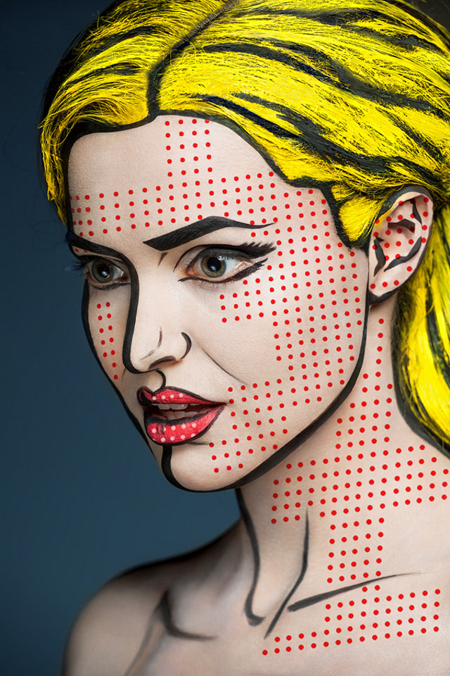Women's Faces Painted To Look 2-D