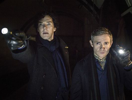 Sherlock and Dr Watson are straight back to work in new shots from series 3