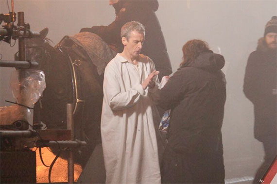 Doctor Who Set Video - Peter Capaldi Rides Horse in Pajamas