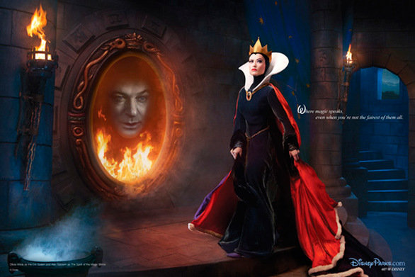 "Model-actress Olivia Wilde is the Evil Queen in ""Snow White and the Seven Dwarfs"" to Alec Baldwin as the spirit in the magic mirror.  http://www.latimes.com/travel/deals/themeparks/la-trb-photos-celebrities-disney-03201103-pg,0,823043.photogallery#ixzz2tN4Sygod"