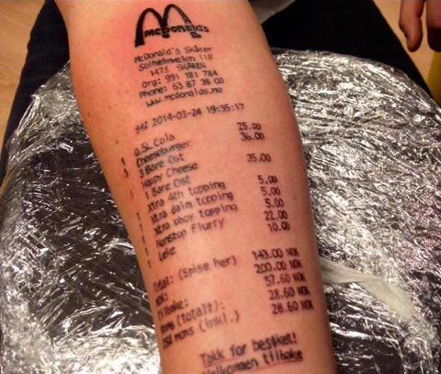 McDonald's Fan Gets Tattoo Of Receipt On His Arm