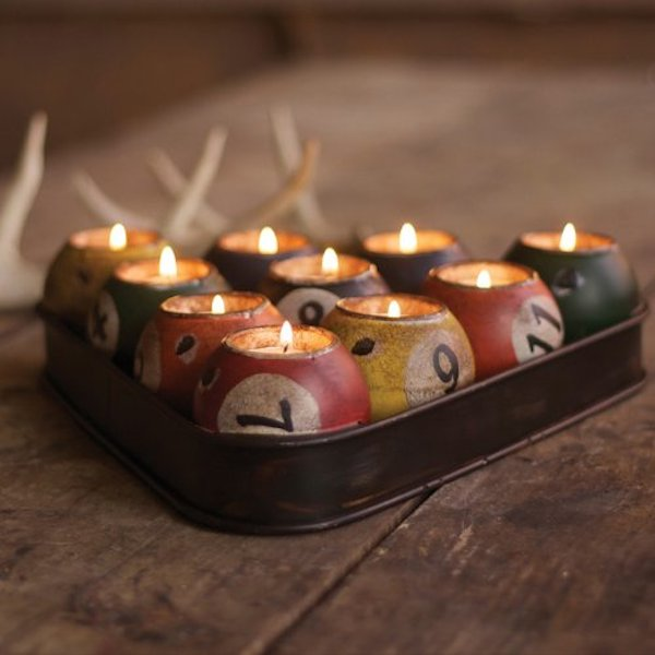 Kalalou-Multi-Colored-Tin-Pool-Ball-Candle-Holder-Set