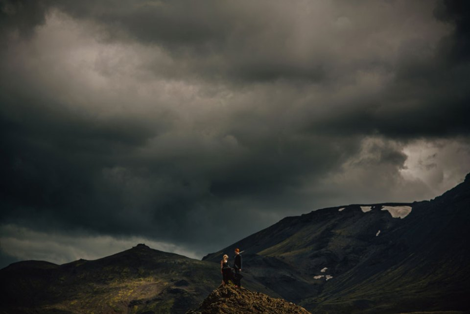 Couple in Iceland Surrounded by Nature