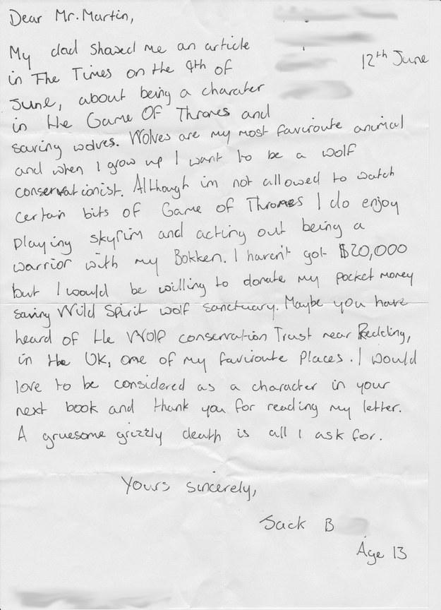 13-Year-Old Boy Writes to George R.R. Martin