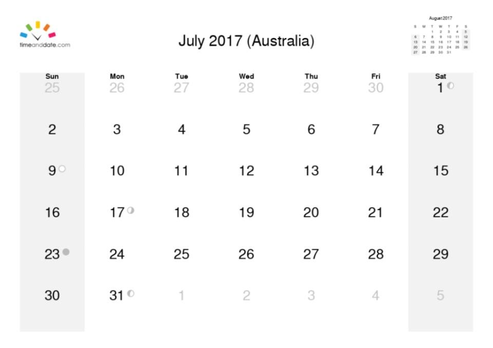 july calendar month 2017
