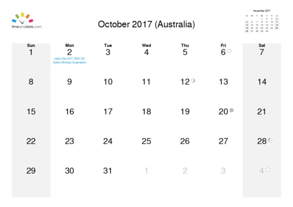 october calendar month 2017
