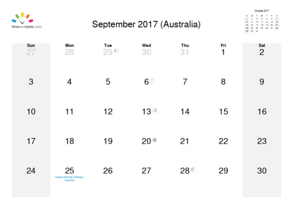 september calendar month 2017