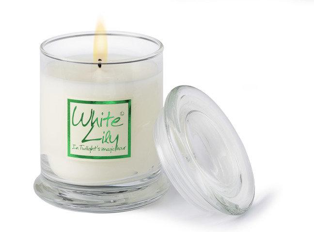 White Lily Candle Jar- Glass Jar
