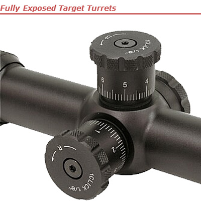 Fully exposed target turrets