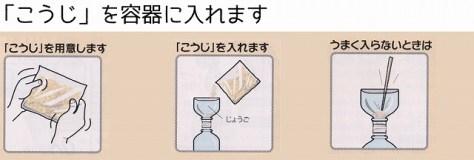 そのペットボトル容器に麹を入れる。  手作り醤油キット 湯浅醤油・金山寺味噌・ポン酢・紀州の梅干の製造・販売、丸新本家HPから引用