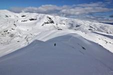 Up the summit ridge