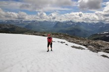 Pitches of snow left on the ridge