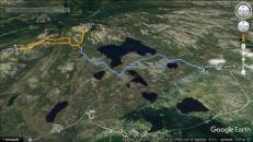 Trip tracks (blue is on bike)