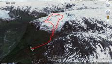 Our tracks, up Vetle Geisdalen and down the ridge